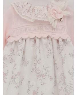 Vestido cuerpo punto y falda de plumeti estampado