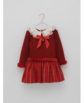 Vestido punto y tela en tono rojo